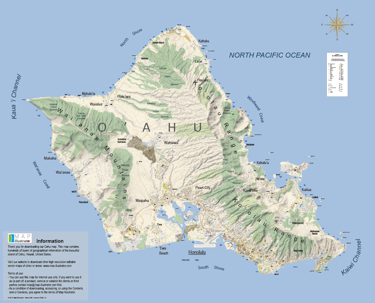 Oahu Mapillustratorcom Map oahu mappery – Tourist Map Of Oahu