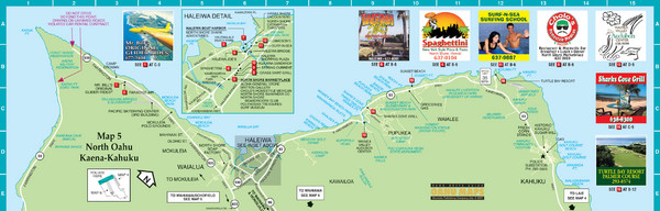 Oahu North Shore Tourist Map Oahu Hawaii mappery – Hawaii Tourist Attractions Map