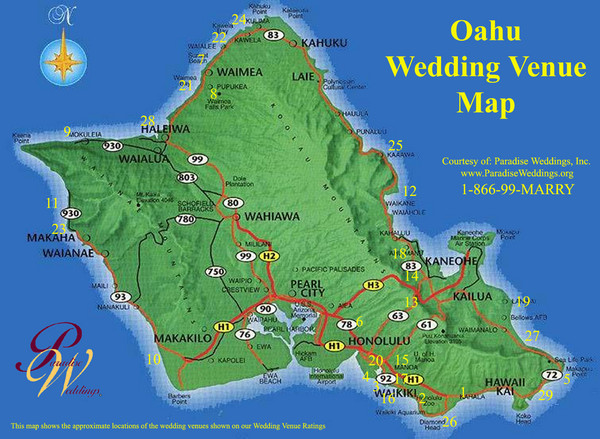 Oahu Wedding Venue Map Oahu Hawaii Mappery