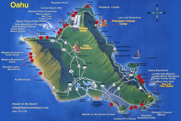 Tourist map of Oahu Island, showing beaches and points of interest.