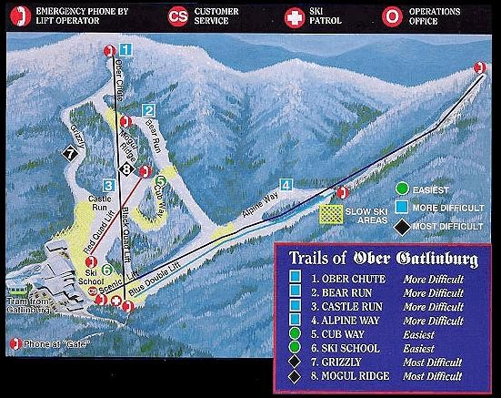Ober Gatlinburg Ski Resort Ski Trail Map