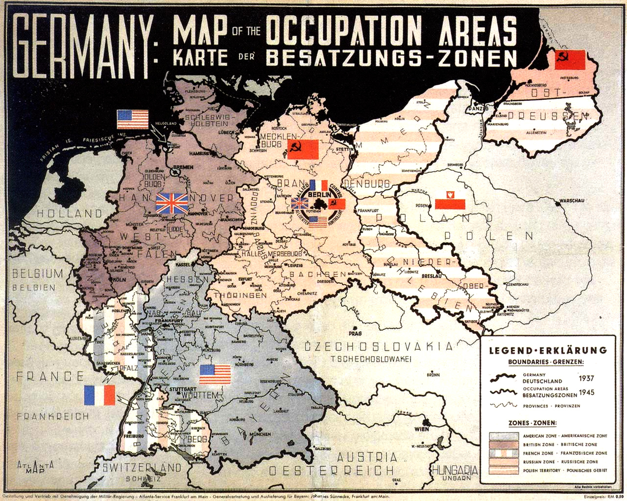 Occupation Areas Of Germany After 1945 Map Germany Mappery