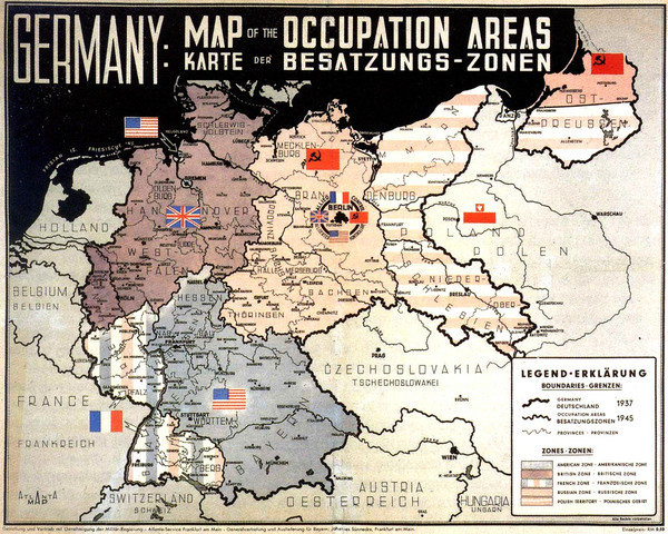 Occupation areas of germany after 1945 map germany mappery fullsize occupation areas of germany after 1945 map gumiabroncs Images