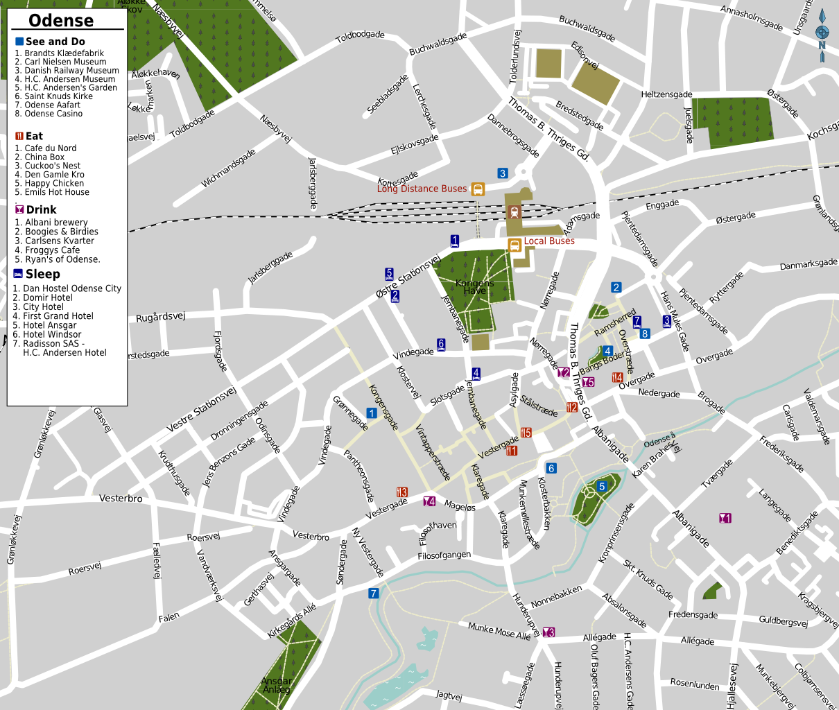 Odense Tourist Map Odense Denmark Mappery - Aarhus city map