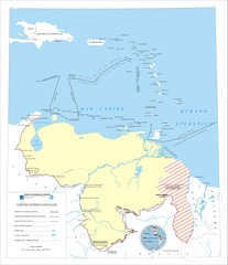 Official boundaries of Venezuela Map
