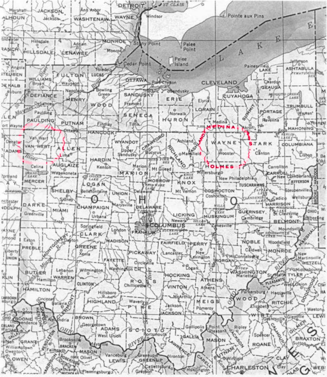 Ohio County Map Ohio mappery