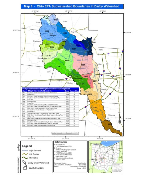 Ohio EPA Subwatersheds Boundaries in Darby Watershed Map