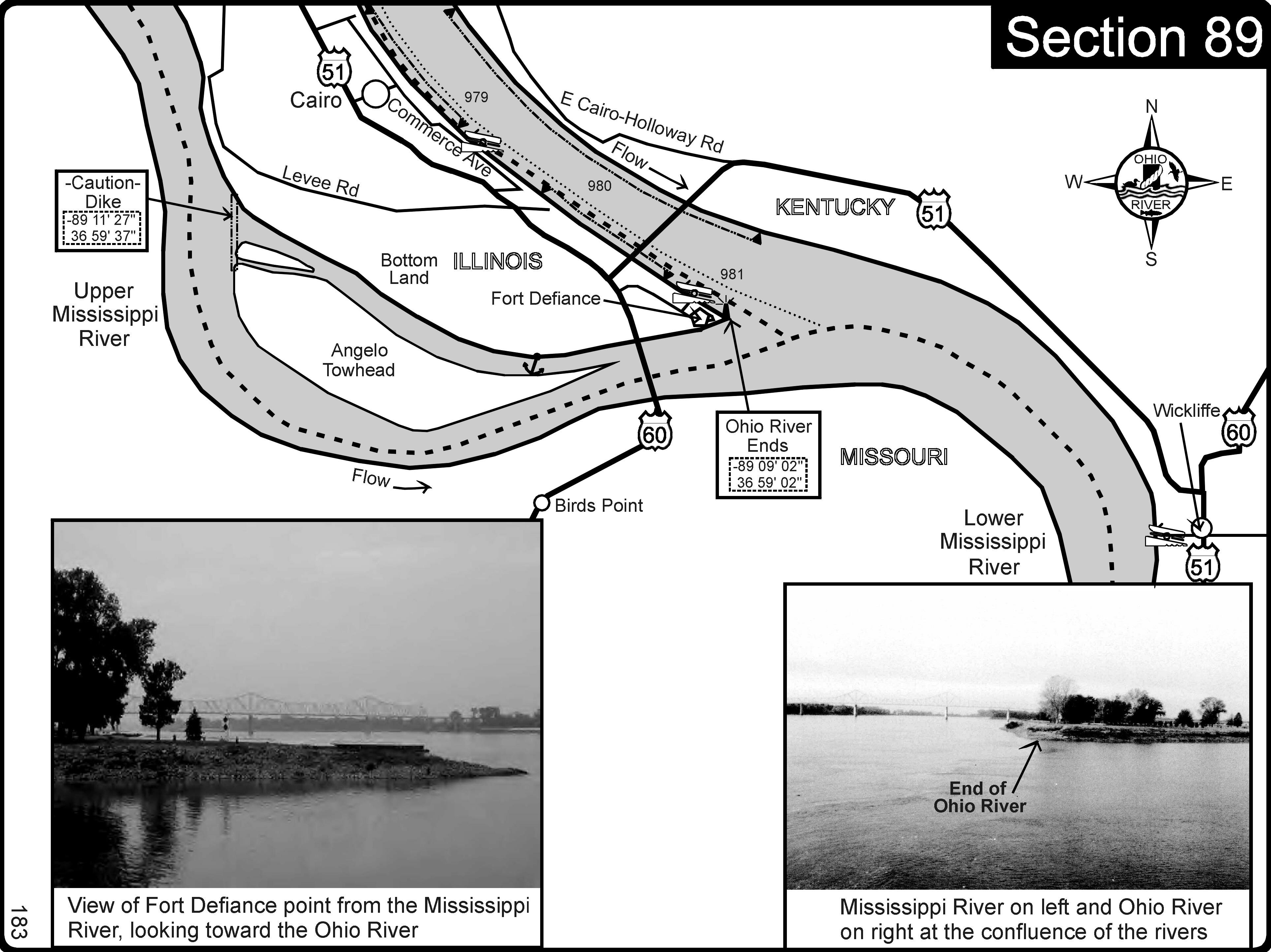 Ohio River at Cairo IL and Mississippi River Map  cairo il  mappery