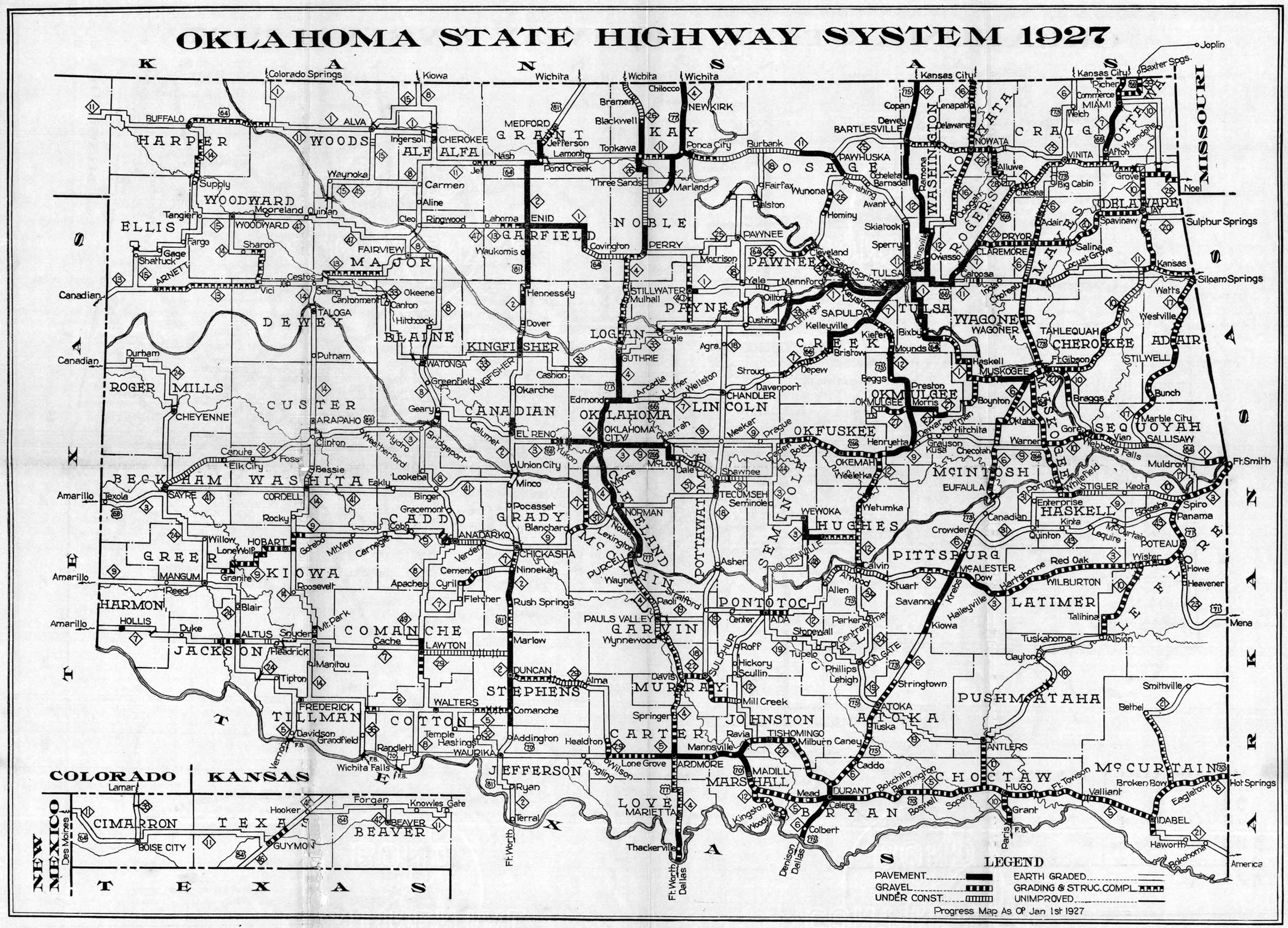 State Map Oklahoma.Oklahoma State Highway Map Oklahoma Usa Mappery