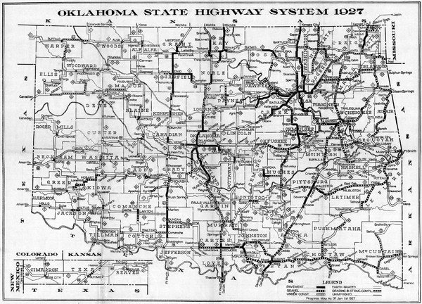 State Map Of Kansas And Oklahoma.Oklahoma State Highway Map Oklahoma Usa Mappery