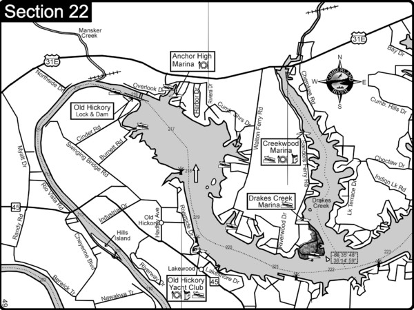 Old Hickory Lake Cumberland River Map