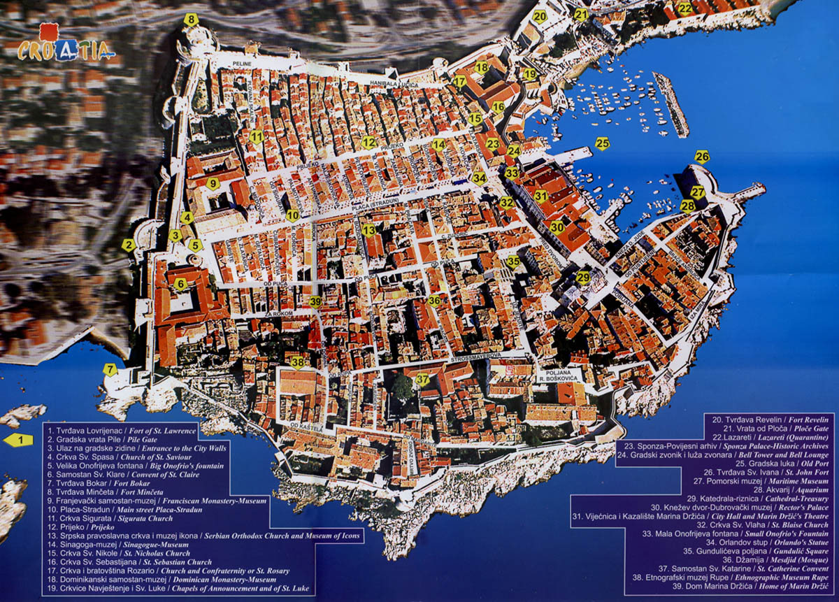 Old Town Dubrovnik Tourist Map Dubrovnik Croatia Mappery