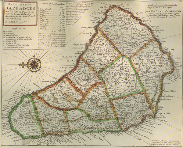 Old-time Map of Barbados