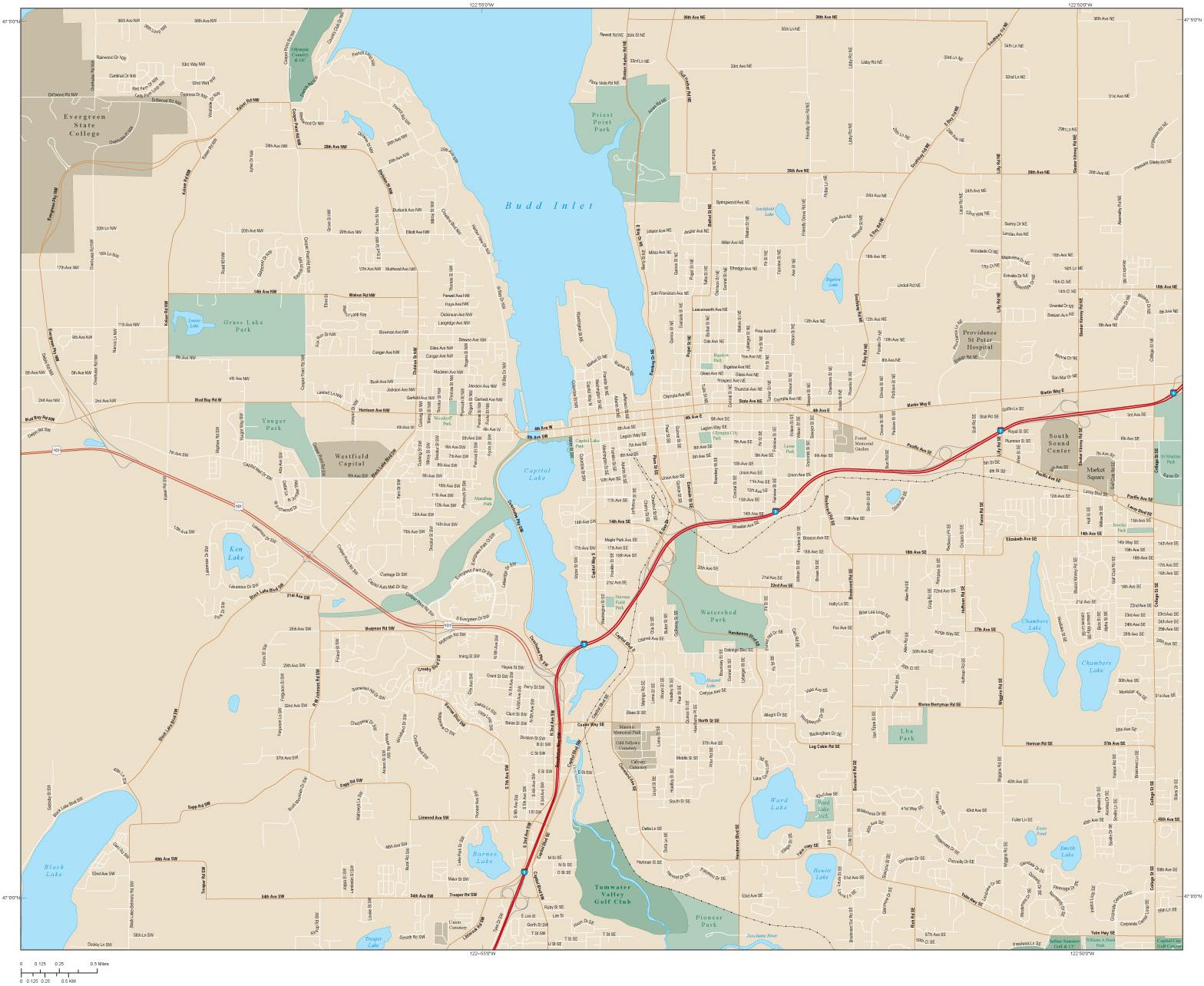 Olympia Washington City Map Olympia WA mappery