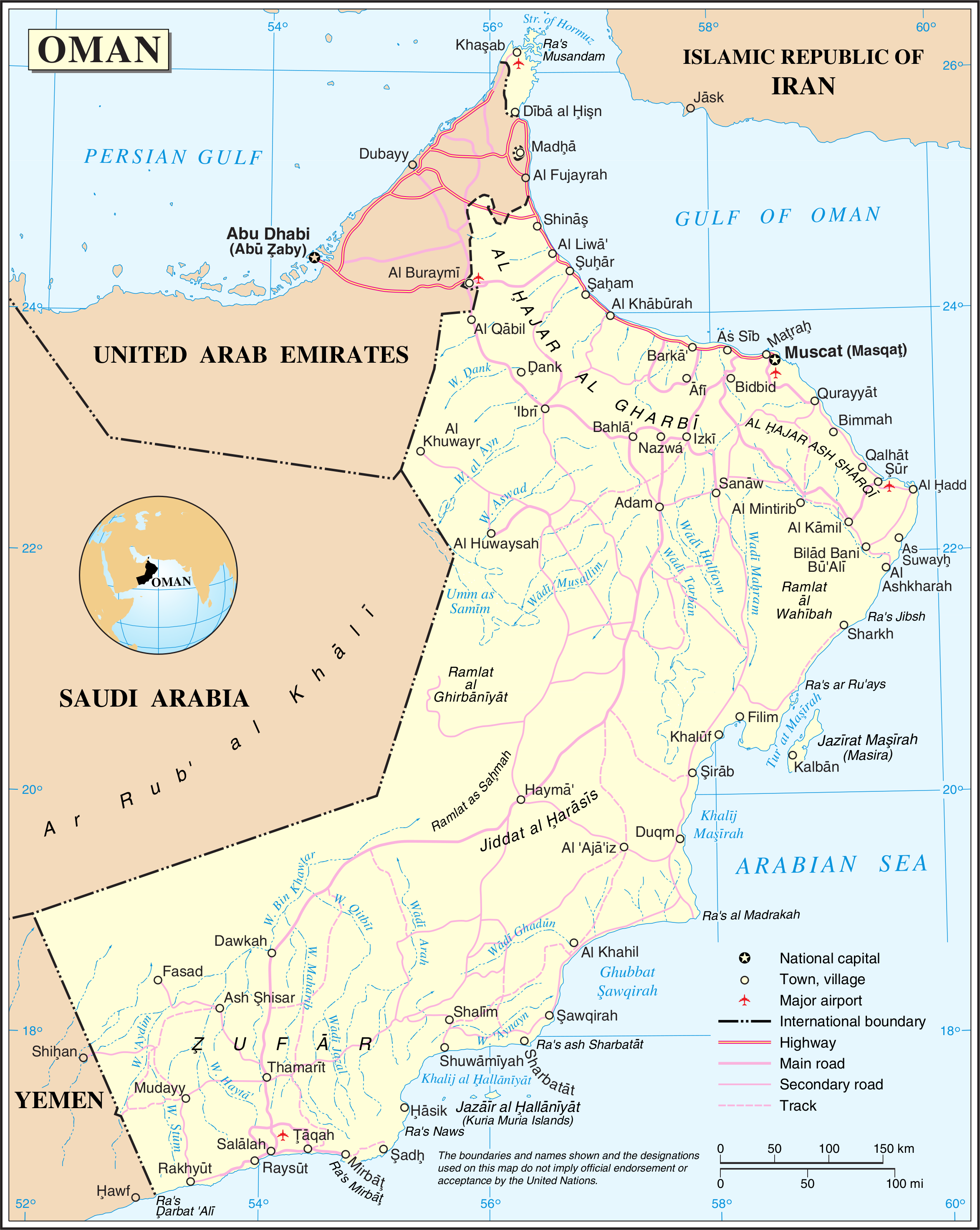 Oman Overview Map - Oman • mappery