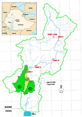 Omo River Drainage area Map