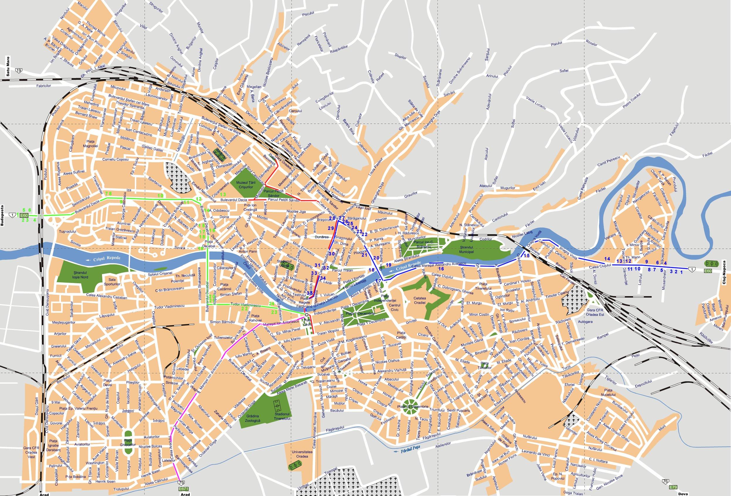 Oradea Tourist Map Oradea Romania Mappery - Oradea map