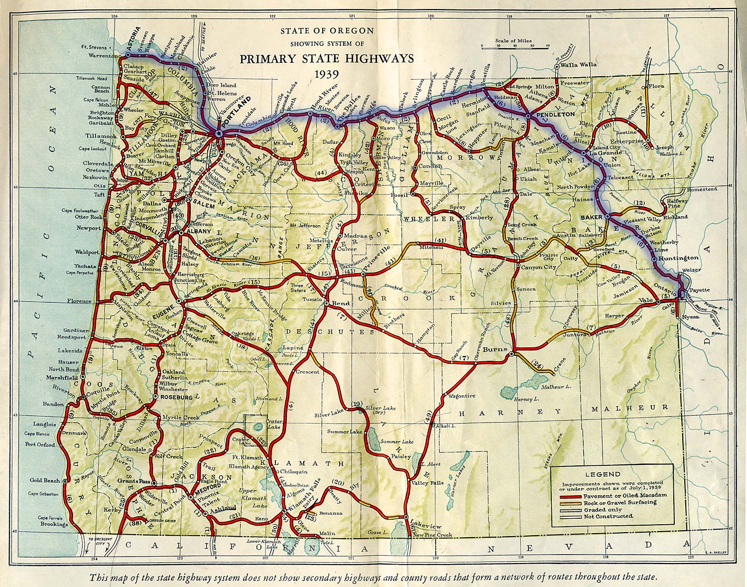 Oregon Road Map Oregon Mappery - Map of or