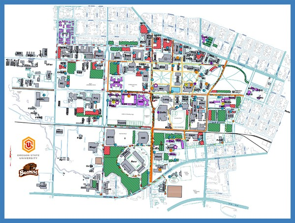 Campus map of Oregon State University in Corvallis, Oregon
