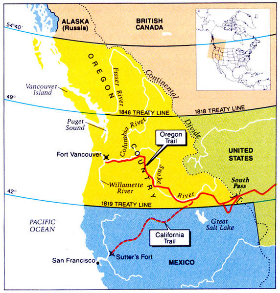 Oregon Treaty Historical map