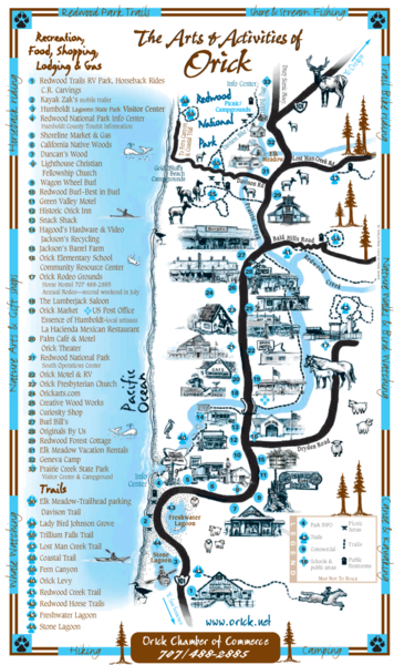 Orick Redwood National Park Map