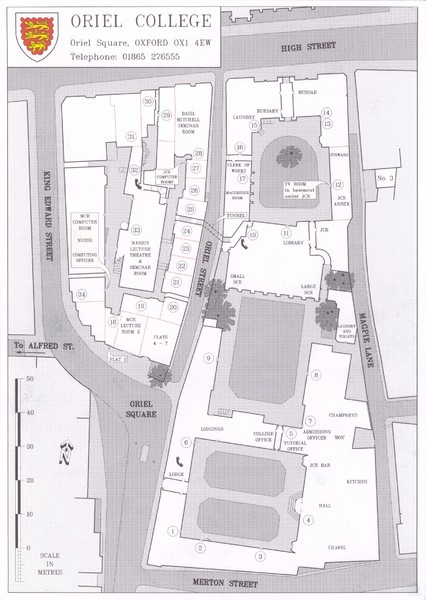 Oriel College Map