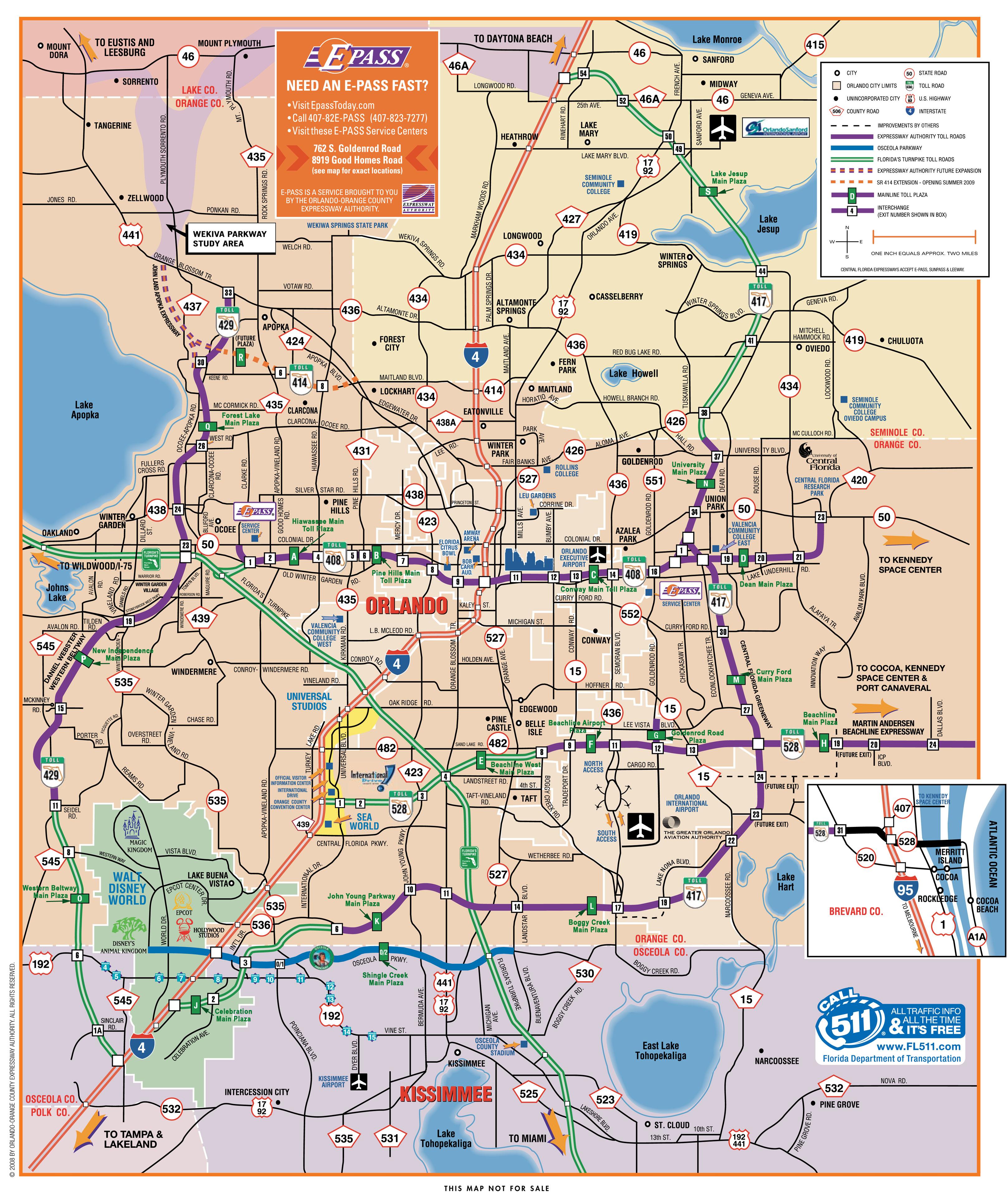 Orlando Map   TravelsFinders.®