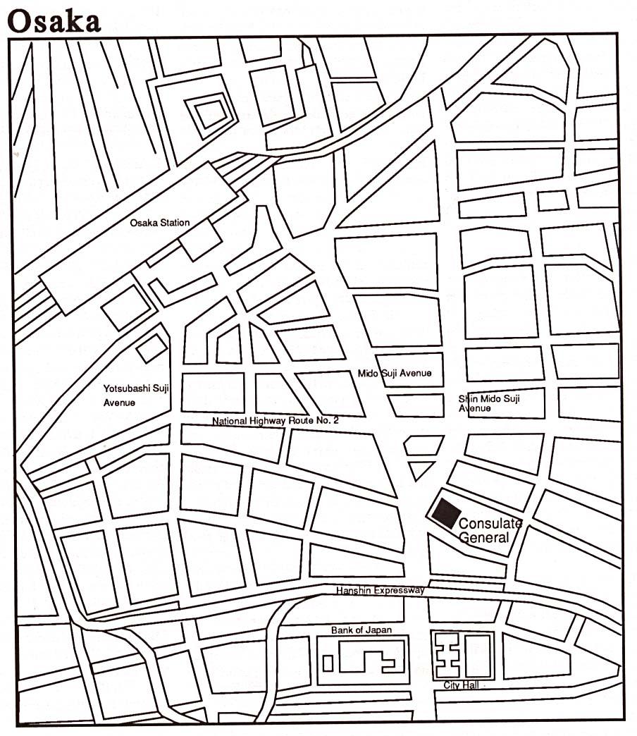 Osaka City Map Osaka Mappery - Japan map drawing