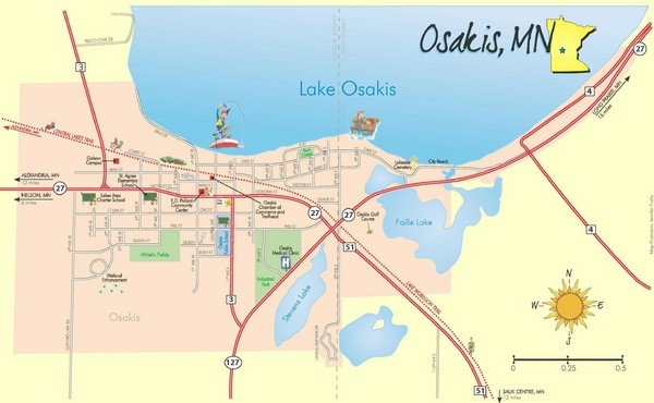Osakis City Map