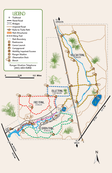 Florida Rails To Trails Map.Oscar Scherer State Park Trail Map 1843 S Tamiami Trail Osprey