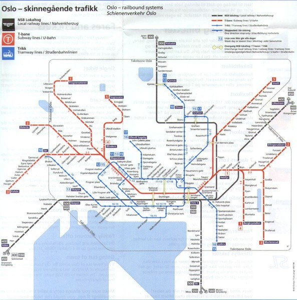 Oslo Norway Public Transportation Map Oslo Norway Mappery - Norway map railway