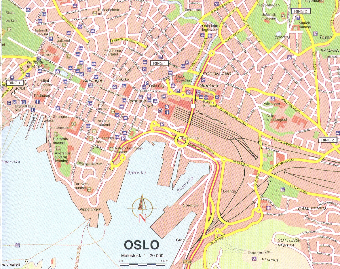 oslo tourist map  oslo norway • mappery -