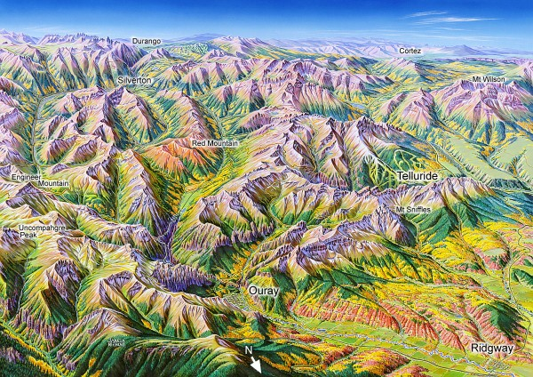 Ouray, Colorado area map