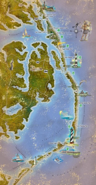 Map North Carolina Lighthouses