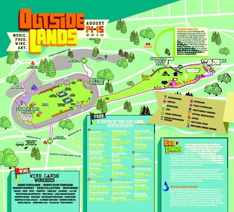 Outside Lands Festival Map 2010 Golden Gate Park San Francisco