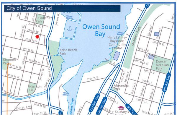 Owen Sound Map Ontario Owen Sound Map   Owen Sound Ontario Canada • mappery