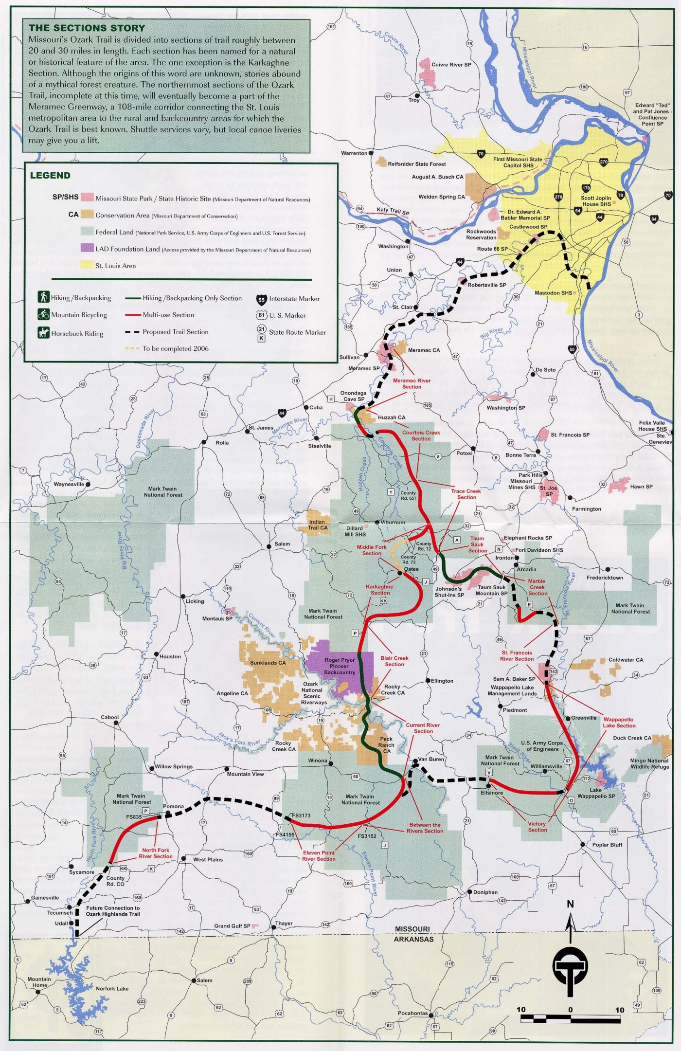 Ozark Trail Map - cuivre river state park Missouri USA • mappery
