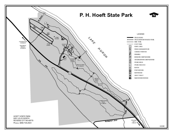 P.H. Hoeft State Park, Michigan Site Map