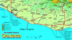 PUerto Escondido, Mexico Tourist Map