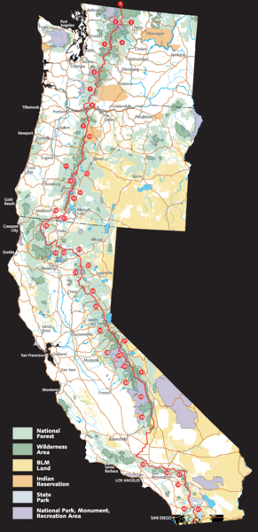 Pacific Crest Trail Route Overview Map