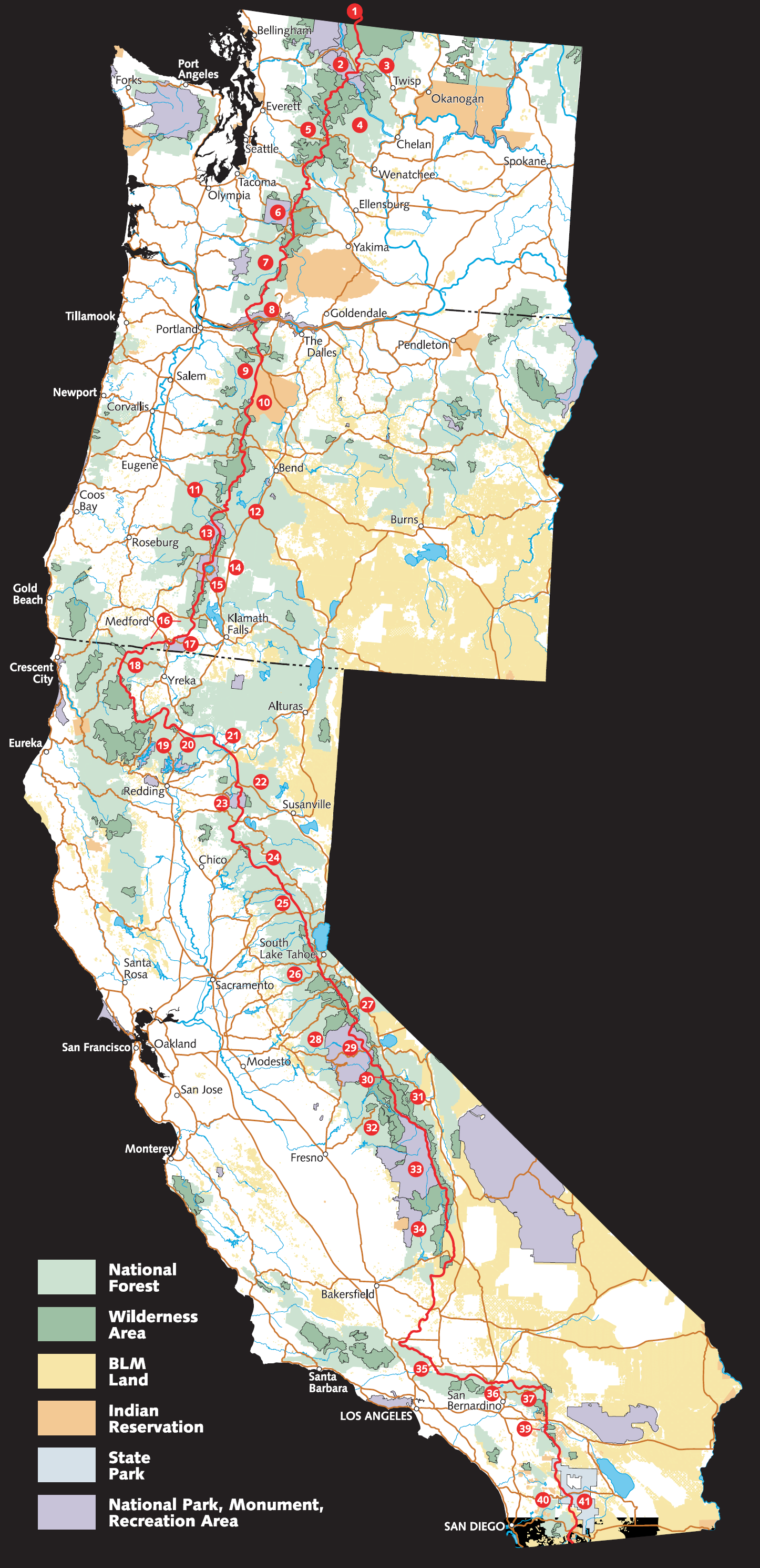 pct oregon map with Pacific Crest Trail Route Overview Map on CDT Maps By Jonathan Ley in addition Map Of California also Pacific Crest Scenic Trail moreover Pct Or Section D Highway 138 To Highway 58 Willamette Pass additionally 2.