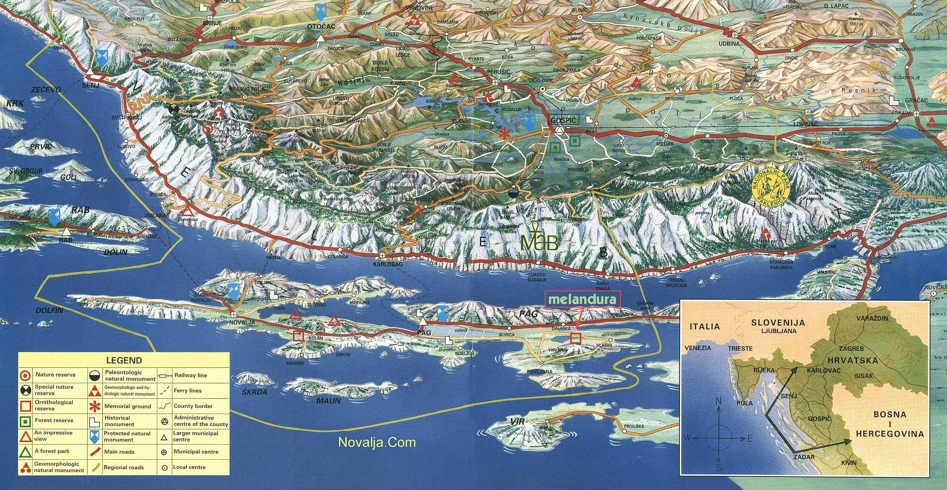 Pag Island Panoramic Map pag croatia mappery – Croatia Tourist Map
