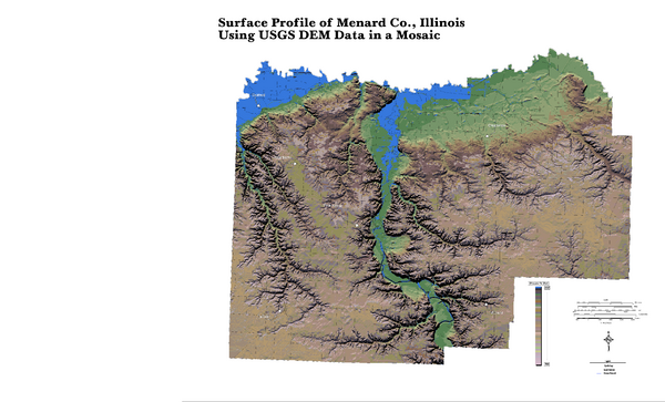 Painted DEM of Menard Co. Illinois Map