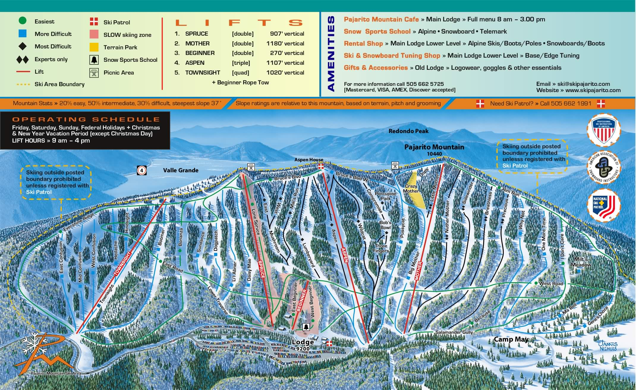 Pajarito Mountain Ski Trail Map Los Alamos New Mexico