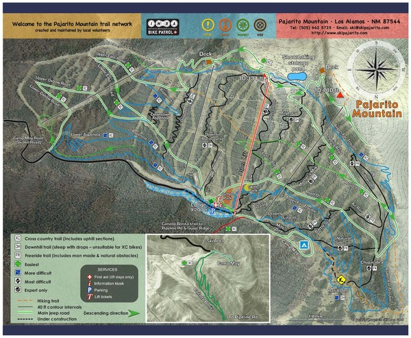 Pajarito Mountain Summer Bike Hike Trail Map