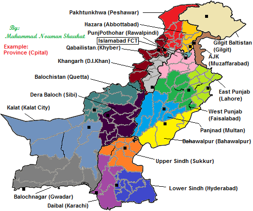 Pakistan New Provinces Map Pakistan Mappery - Map of pakistan