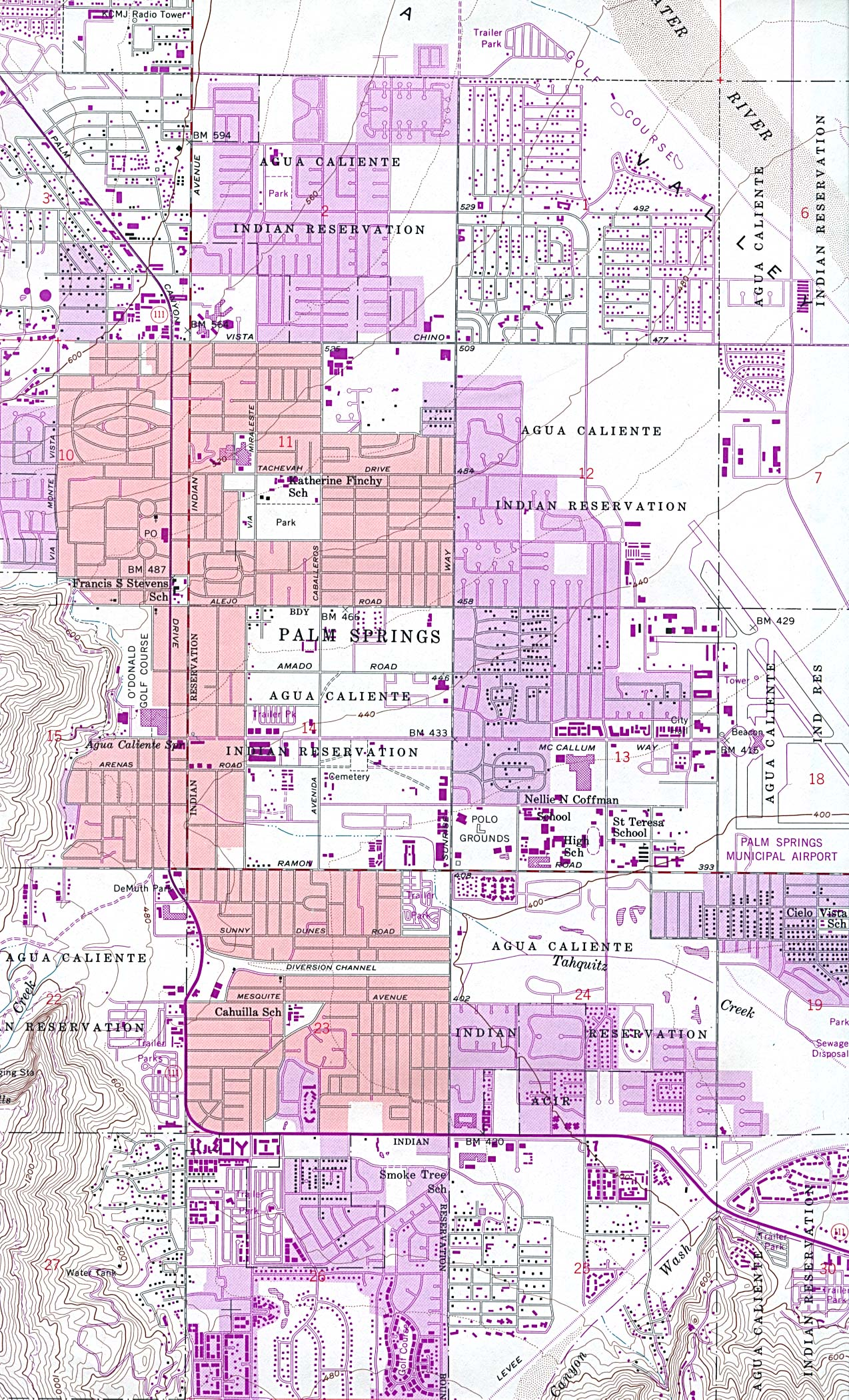 Palm Springs California City Map - Palm Springs CA • mappery on