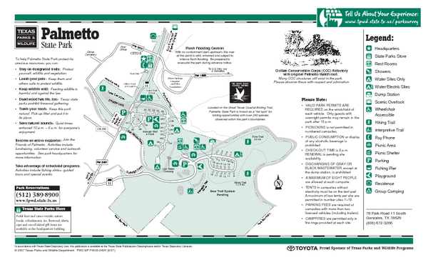 Palmetto, Texas State Park Facility and Trail Map