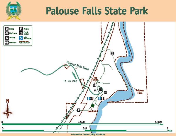 Palouse Falls Washington Map.Palouse Falls State Park Map Palouse Falls State Park Wa Mappery