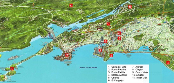 Pictorial map of Panama city with prime real estate investment areas